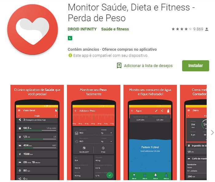 Monitor Saúde, Dieta e Fitness - Perda de Peso
