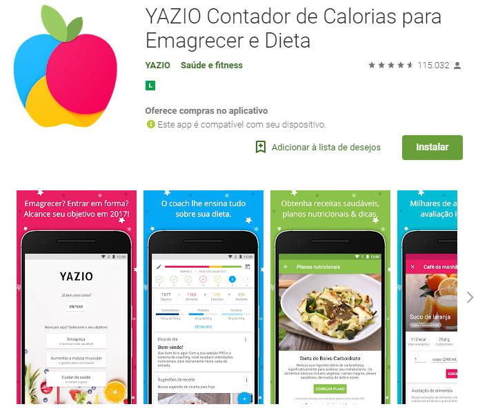 YAZIO Contador de Calorias para Emagrecer e Dieta