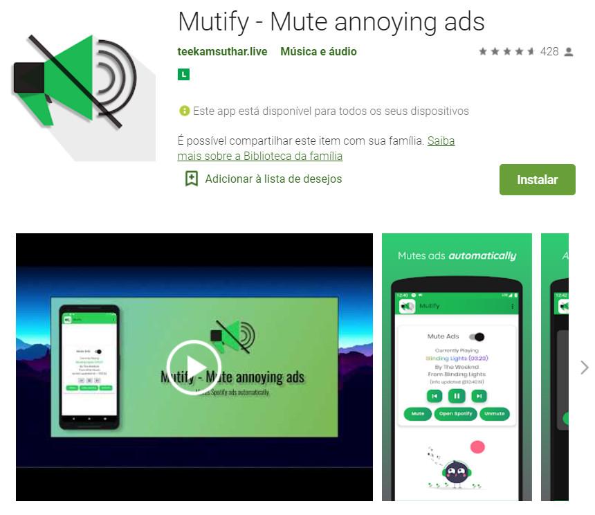 Mutify - Silenciar anúncios irritantes do Spotify