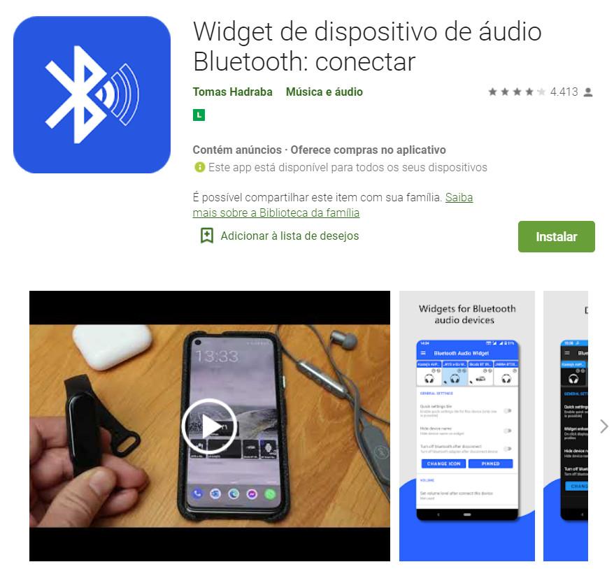 Widget de dispositivo de áudio Bluetooth